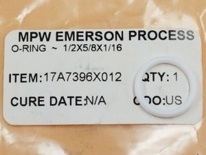 MPW EMERSON PROCESS 17A7396X012 O-RING 1 2X5 8X1 16